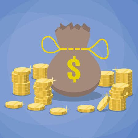 Bag of gold coins: money bag and stacks of gold coins. vector illustration in flat design on blue background Hình minh hoạ