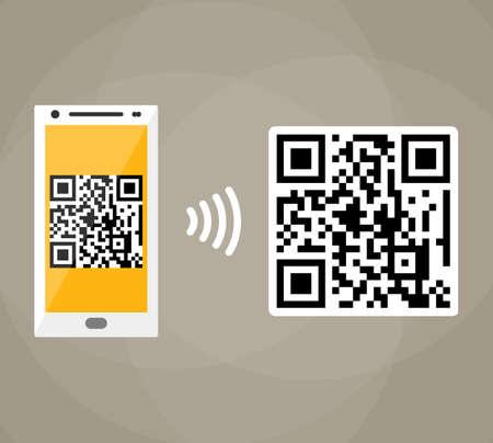 capture: QR code scanning by mobile phone. Capture QR code on mobile phone. Symbol scanning qr code. Concept recognition qr code. Reading qr code. vector illustration in flat design on brown background Illustration