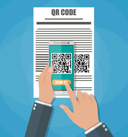 telephone icons: Cartoon hand with mobile phone scanning QR code from document. Electronic scan, digital technology, barcode. Vector illustration in flat design on blue background