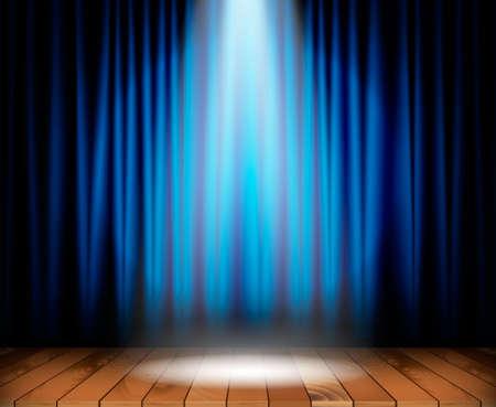 scène de théâtre avec plancher en bois et rideau bleu et un projecteur dans le centre. Vector illustration