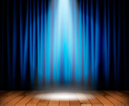 Theater stage with wooden floor and blue curtain and a spotlight in center. Vector illustration Ilustracja