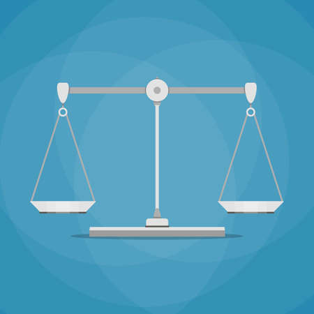 acquittal: empty metallic scales isolated on blue background. vector illustration in flat design
