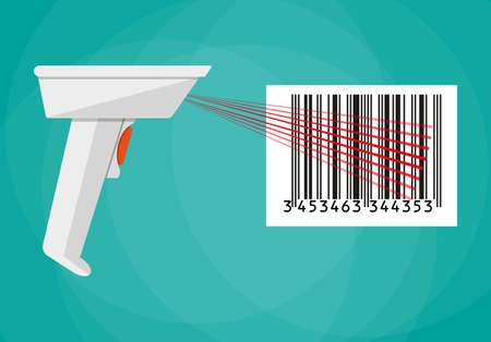 hand held: hand held barcode scanner. vector illustration in flat design on green background