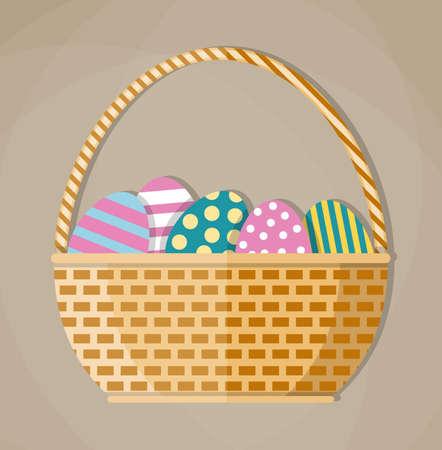 wicker basket: Brown woven wicker Basket full of colored Easter eggs. vector illustration in flat design on light background