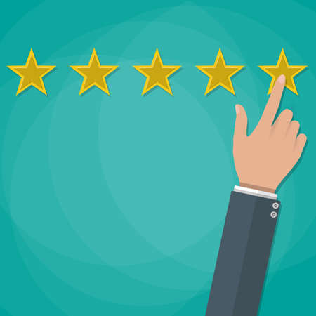 star rating: cartoon hand gives a star rating. voting, user review, feedback concept. vector illustration in flat design on green background