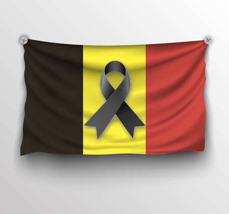 light backround: Belgium realistic flag with black ribbon. Pray for Brussels at light backround. vector illlustration