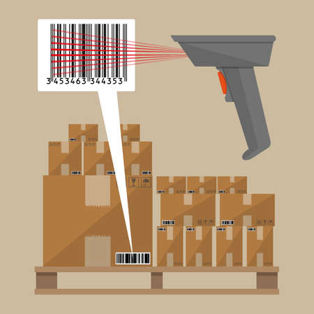 storage data product: Gray barcode reader scanner with cardboard delivery boxes on wooden pallet. Vector illustration in flat design on brown background