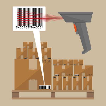 codigo de barras: Gray escáner lector de código de barras con las cajas de cartón de entrega en la paleta de madera. Ilustración del vector en diseño plano sobre fondo marrón