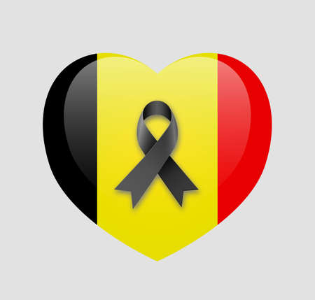 light backround: Heart with national flag of Belgium inside with black ribbon. Pray for Brussels at light backround. vector illlustration