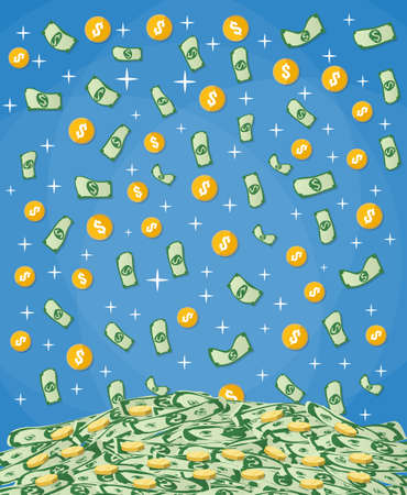 raining: Falling Money dollars and gold coins into big pile of cash. vector illustration in flat design on blue background