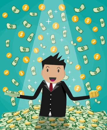lucky man: Happy cartoonl businessman raising from huge green money bills and gold coins pile. rain of money. vector illustration in flat design on green background Illustration