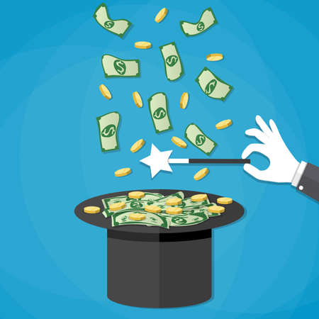 magical equipment: Magic trick concept. Dollar money and golden coins coming out of the magicians hat. Hand with white glove holding magic wand. Vector illustration in flat design on blue background Illustration