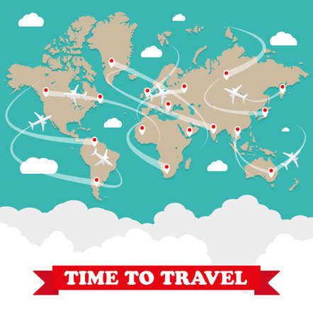 World map with routes airplane, clouds with sign on green background. vector illustration in flat design. travel concept Stock Photo