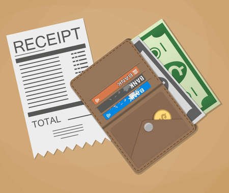 cash receipt: receipt, money cash with dollar banknotes and coins, credit debit bank cards inside of leather wallet. vector illustration in flat design on brown background Illustration