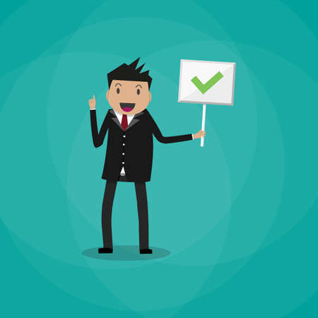 right choice: happy Cartoon Businessman hold sign with green tick. positive checkmark in center. right choice concept. vector illustration in flat design on green background.