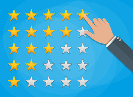 review icon: cartoon hand gives a five star arating. voting, user review, feedback concept. vector illustration in flat design on green background Illustration