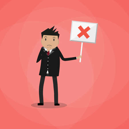 choice concept: Sad Cartoon Businessman hold sign with red cross. negative checkmark in center. wrong choice concept. vector illustration in flat design on red background.