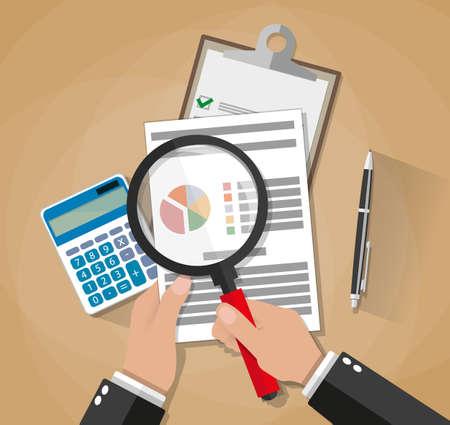 sklo: Cartoon podnikatel ruce s analýzou lupou list papíru, kalkulačka, propiskou. audit daň, analýza finančních trhů, seo, finanční zpráva. vektorové ilustrace v plochému designu na hnědém pozadí