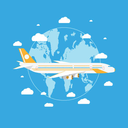 passanger: Cartoon passanger airplane flying above planet earth with white clouds in blue sky. vector illustration in flat design on blue background
