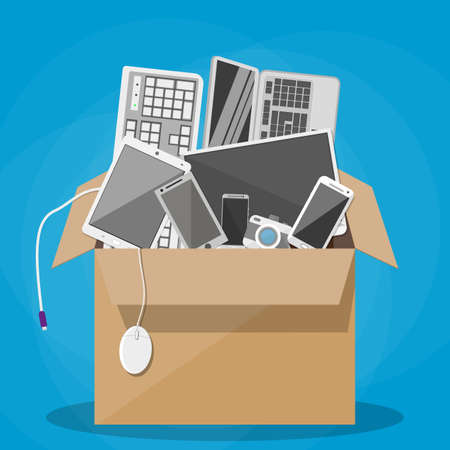 pc icon: Various modern devices in cardboard box. desktop pc, tablet pc, keyboard, photo camera, mouse, laptop, mobile and smart phones. vector illustration in flat design on blue background. office relocation concept