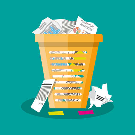 paper: Cartoon office trash recycle bin for garbage. Bin for papers. Vector illustration in flat design on green background