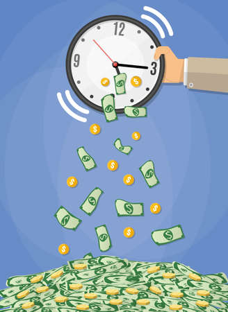 money bills and golden coins falling from the clock which shakes the hand of a businessman. time is money concept, time management. vector illustration in flat design on blue background Illustration