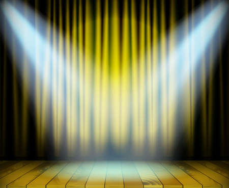 Theater stage with wooden floor and yellow curtain and a two white spotlights on sides. Vector illustration
