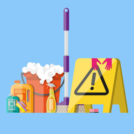 clean background: Cleaning set. MOP, sponge, red plastic bucket, cleaning products in bottle for floor and glass, yellow sign reminder of wet floor with rubber gloves upstairs. vector illustration in flat design on blue background