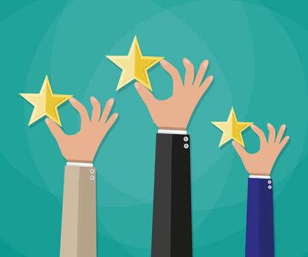 Mains bande dessinée détiennent une des étoiles d'or, étoiles. vote, avis des utilisateurs, la rétroaction concept. illustration vectorielle dans la conception à plat sur fond vert Banque d'images - 55003001