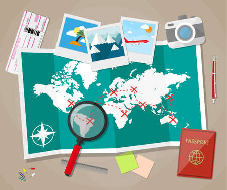 planning trip concept at table with paper map of world, magnifier, pen, passport, airplane ticket, photo camera photos, sticky notes, pins. vector illustration in flat design on brown background Ilustracja