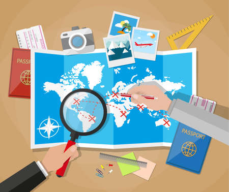 trip: couple of mans with magnifier and pen planning trip at table with paper map of world. passport, airplane ticket, photo camera photos, sticky notes, pins. vector illustration in flat design on brown background Illustration