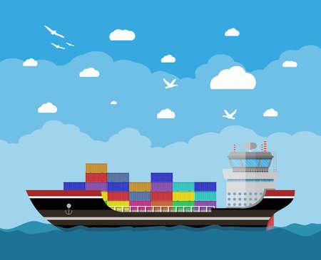 Vrachtschip in water, blauwe hemel met wolken en zeemeeuwen. Vrachtvervoer over water. Commercieel containerschip, industriële en logistieke, vectorillustratie in vlak ontwerp