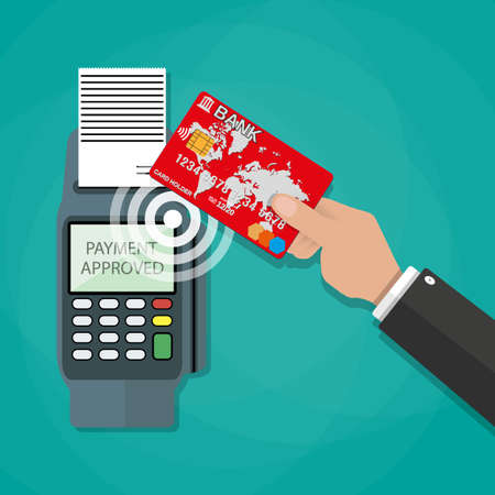 payment: Human hand with plastic card bank and pos terminal. nfc payments concept, near field communication technology. vector illustration in flat design on green background