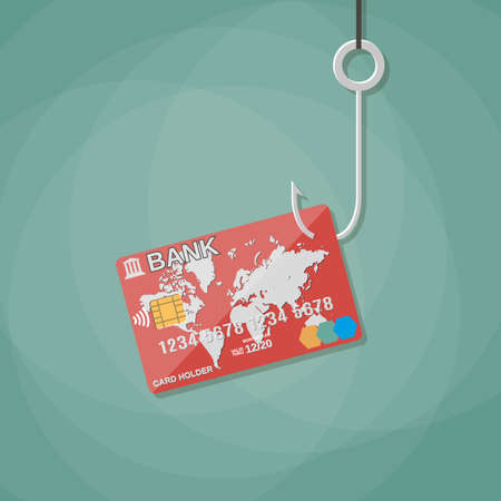 fraud: credit or debit plastic bank card on fishing hook,anti fraud, internet security, safety payments. vector illustration in flat design on green background