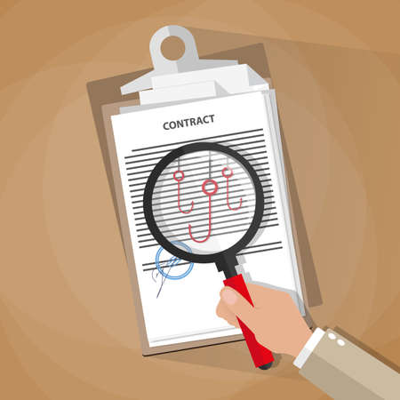 control fraud: Cartoon businessman hand checking contract with a magnifying glass on a table before signing and see fishing hooks. Legal errors in contracts and agreements. Contract inspection concept. vector illustration in flat design on brown background Illustration