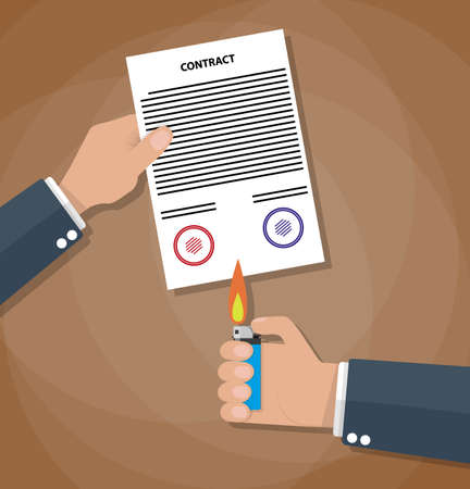 terminate: Hand holding burning lighter under a contract. Contract termination concept. vector illustration in flat design on brown background
