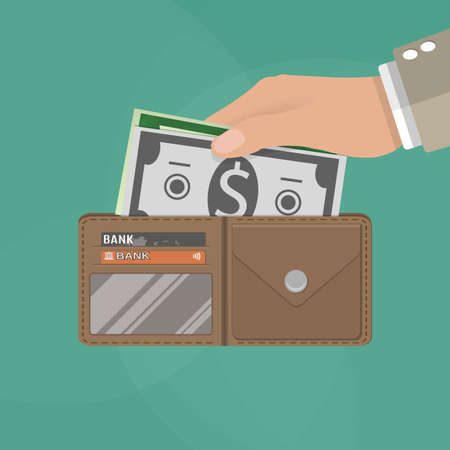 putting: human hands putting cash dollars into opened brown leather men wallet with credit cards. vector illustration in flat design on green background Stock Photo