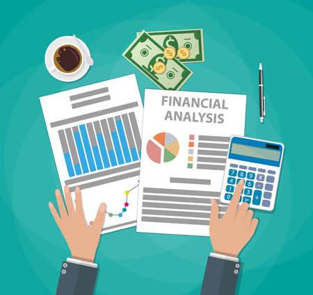 financial reports: Financial calculations. Working process. businessman hands, calculator, financial reports, money, coins, pen, coffee cup. Top view. vector illustration in flat design on green background Stock Photo
