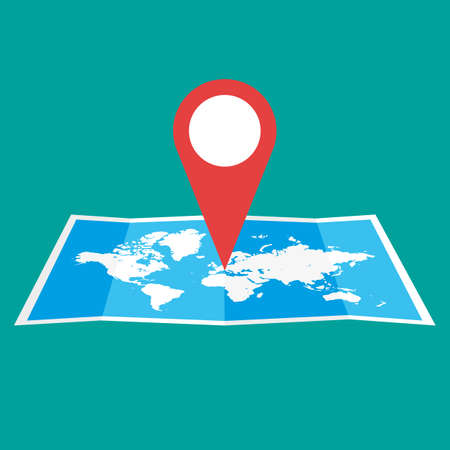 geolocation: Navigation geolocation icon. Folded paper world map with red pin, vector illustration in flat design on green background