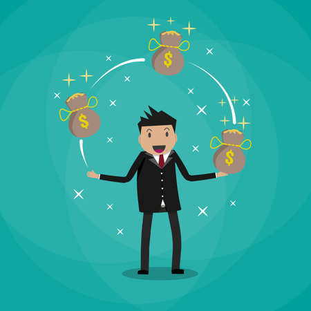 cfo: Happy Cartoon businessman juggling with money bags full of gold coins. vector illustration in flat design on green background