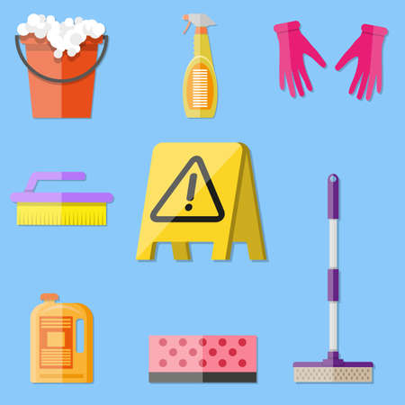 mop floor: Cleaning set. MOP, sponge, red plastic bucket, cleaning products in bottle for floor and glass, yellow sign reminder of wet floor with rubber gloves upstairs. vector illustration in flat design on blue background