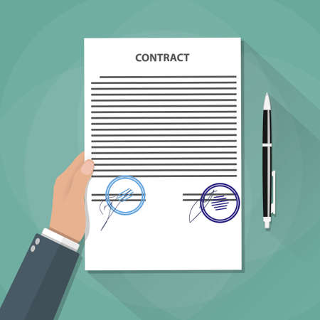 treaty: cartoon businessman hand holds contract documents with signs and stamps. Treaty signing concept. contract agreement, papers and pen. vector illustration in flat design on green background