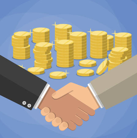 equal opportunity: cartoon businessmen handshake at blue background with gold coins stacks. shaking hands. successful transaction. vector illustration in flat design