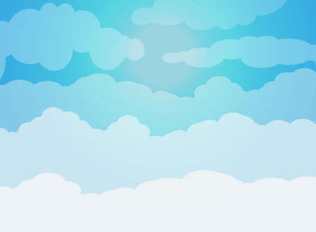 moisture: Blue sky with clouds and sun. vector illustration in flat design Stock Photo