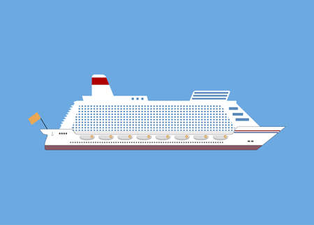 ocean liner: White cruise ship, ocean liner. vector illustration in flat design isolated on blue background Illustration