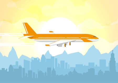 Morning city skyline. Buildings silhouette cityscape with mountains. Big city streets. Plane flying over urban city, Fog over city. Yellow sky with sun and clouds. Vector illustration