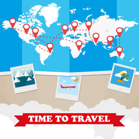 World map with routes airplane, instant photo frames, clouds with sign on green background. vector illustration in flat design. travel concept