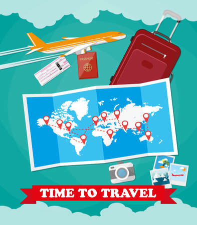 abroad: Red suitcase travel bag, passport, airplane ticket, photo camera, folded map with destinations, plane. vector illustration in flat design on green background Illustration