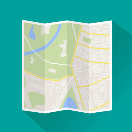 generic location: Folded paper city map. Abstract generic city map with roads, buildings, parks, river. City map icon with long shadow. Street map and direction. vector illustration