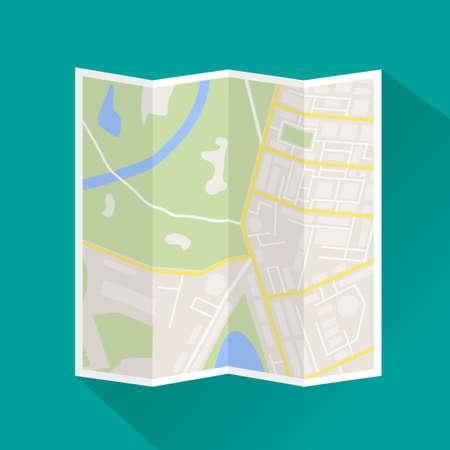Gevouwen papier plattegrond van de stad. Abstract generieke stad kaart met wegen, gebouwen, parken, rivier. Plattegrond van de stad icoon met lange schaduw. Stratenplan en richting. vector illustratie Stock Illustratie